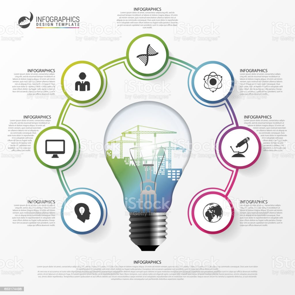 Compact Fluorescent Lamp Diagram Smd Led Bulb Circuit Energysavinglightbulbdiagram Affordable Light Infographic Template For Circle Vector Royaltyfree With