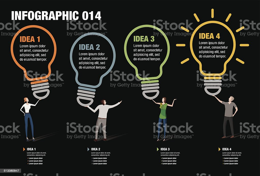Light Bulb Infographic vector art illustration