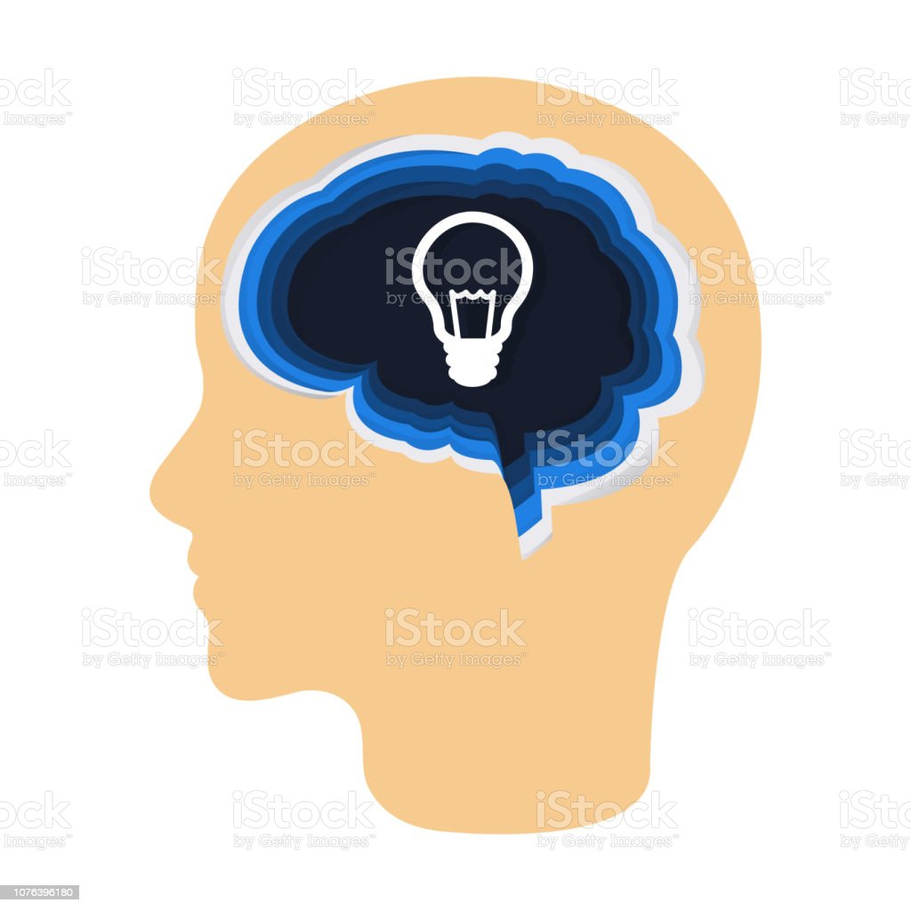 Light bulb inside the brain as a symbol of creative idea. Concept for cognitive rehabilitation in Alzheimer disease and dementia patient. vector art illustration