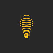 Light bulb lamp logo symbol creative imagination, trendy isometric lines effect for t-shirt print