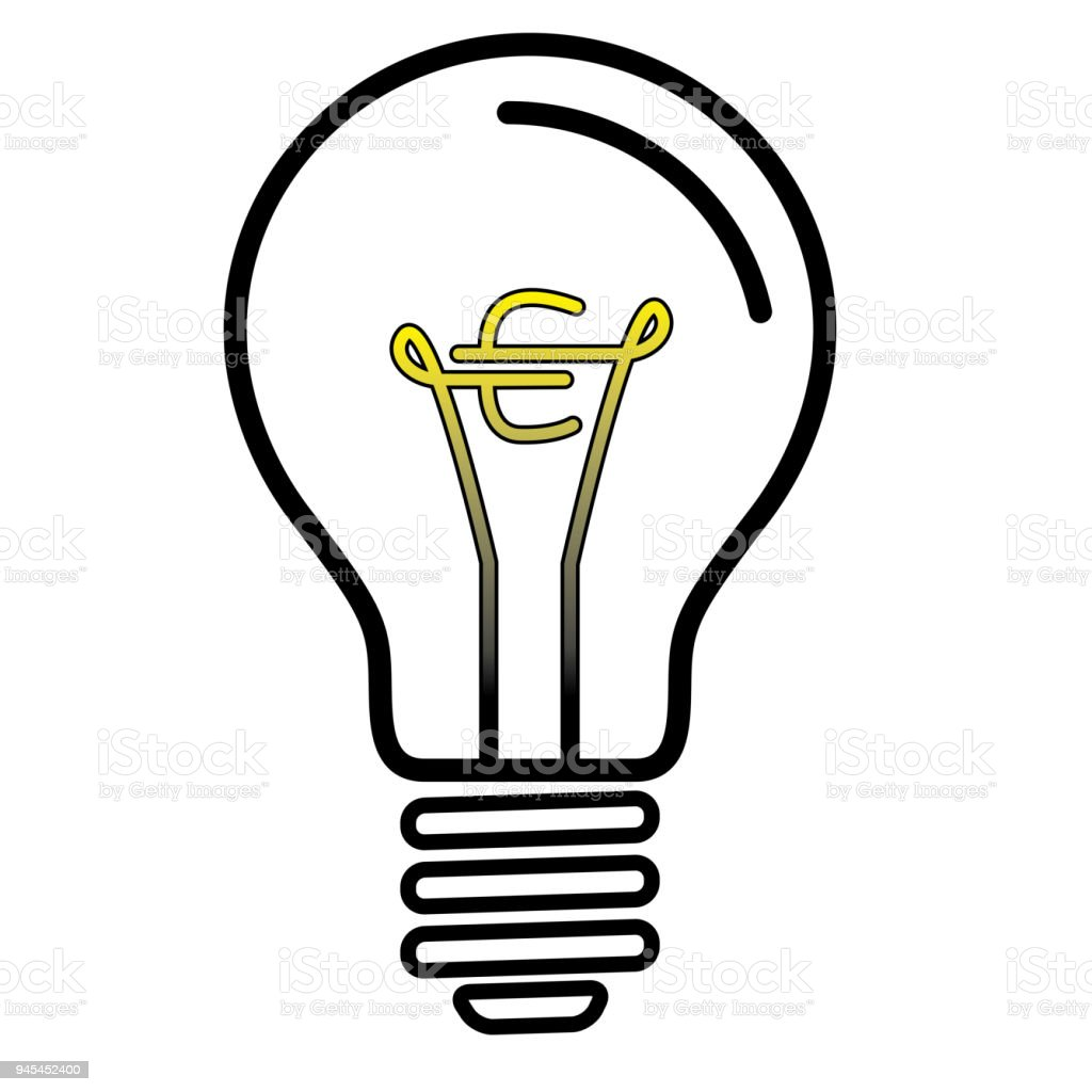 Light Bulb Lamp With Euro Currency Symbol Stock Vector Art More
