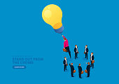 Light bulb leads businessman to stand out and fly to the sky