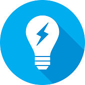 Vector illustration of a blue light bulb with lightning bolt icon in flat style.