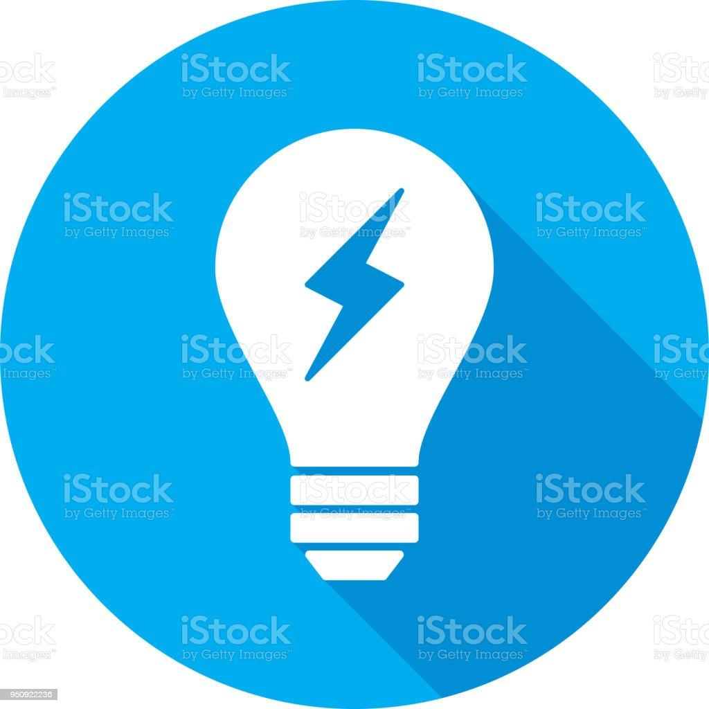 Light Bulb Lightning Bolt Icon Silhouette vector art illustration