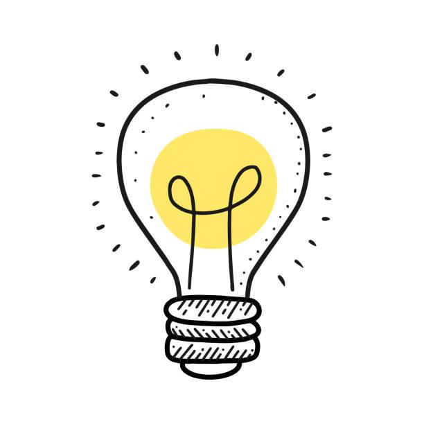 Glühbirne Linien-Zeichenschild. Illustration für Print, Web – Vektorgrafik