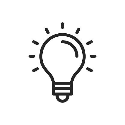 Light bulb line icon. Lightbulb outline symbol. Thin line design. Vector icon