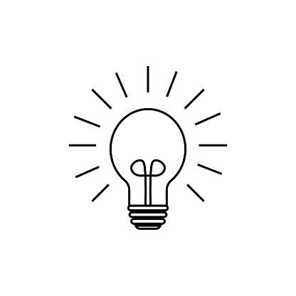 Light bulb line icon, outline vector sign, linear style pictogram isolated on white. Idea symbol, logo illustration. Editable stroke