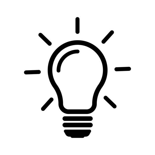 illustrazioni stock, clip art, cartoni animati e icone di tendenza di vettore icona linea lampadina, isolato su sfondo bianco. stile piatto per il graphic design - idea