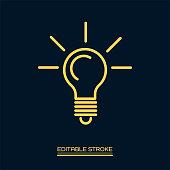 Light bulb line icon.Editable stroke