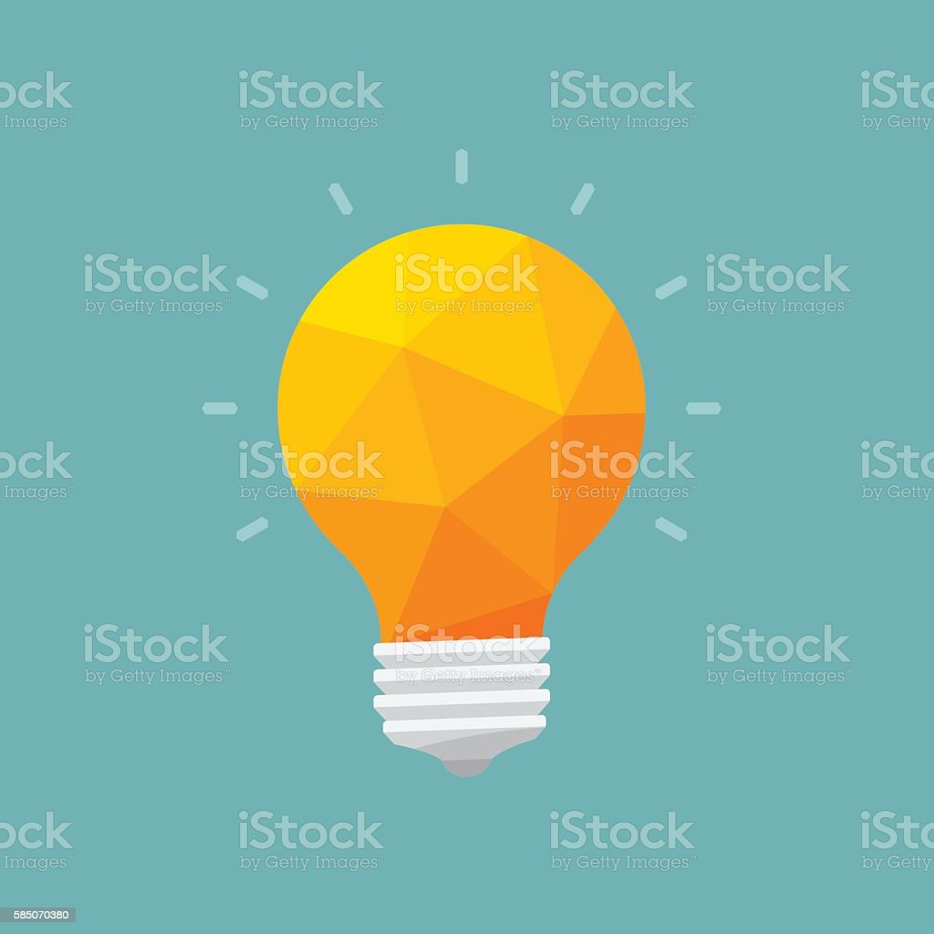 light bulb low poly, idea concept, vector illustration vector art illustration