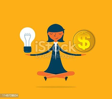 Balance scales idea coin flat vector