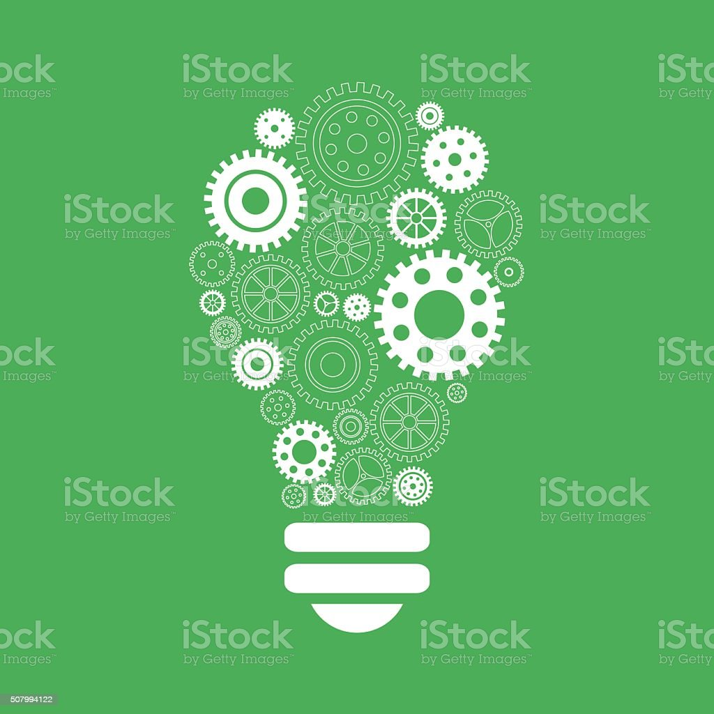 Light bulb of gears and cogs. Brainstorm and idea concept vector art illustration