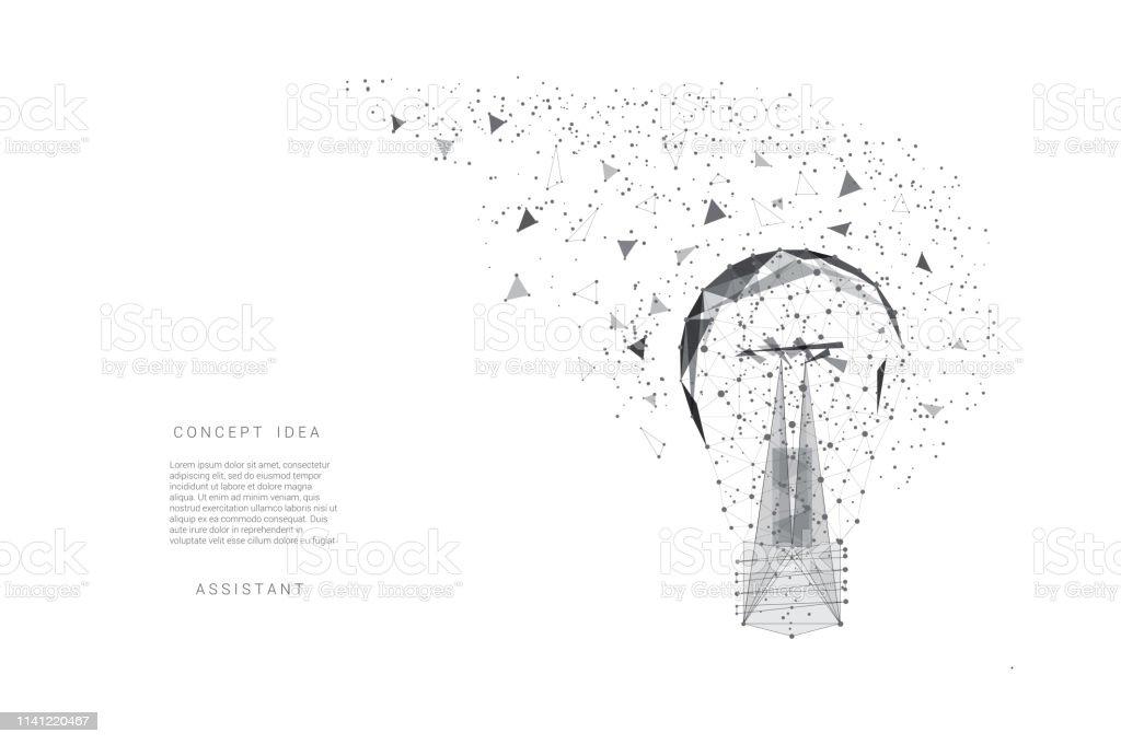 Ampoule De Triangles Et De Points Lignes De Fond Gris Clair Idée De