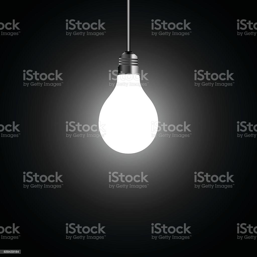 Light bulb on black background vector art illustration