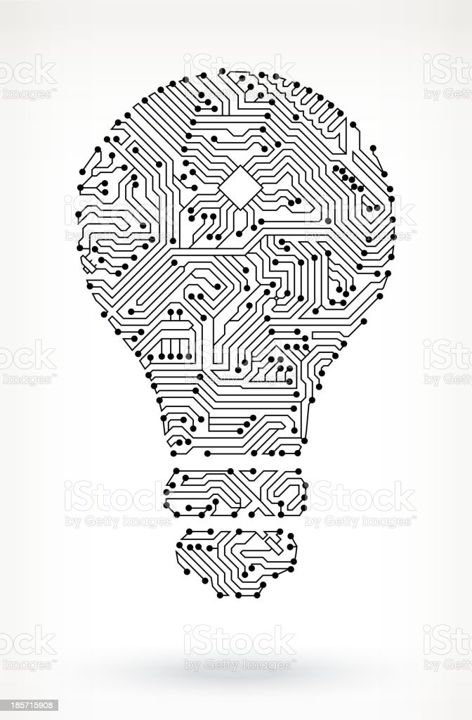 Light Bulb on Circuit Board vector art illustration