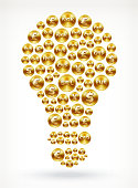 Light Bulb on Gold Coin Buttons