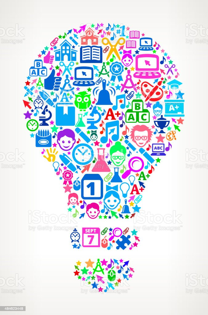 Light Bulb on School & Educationl Icon Pattern royalty free vector...