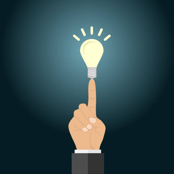 A light bulb on the tip of a finger. Concept of business idea. A light bulb on the tip of a finger. Concept of business idea. Flat design, vector illustration, vector. aha stock illustrations