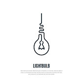 Light bulb one line icon. Line style. Vector illustration.