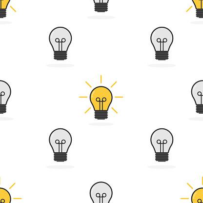 Light bulb pattern. lamp, incandescent bulb. Vector stock illustration.