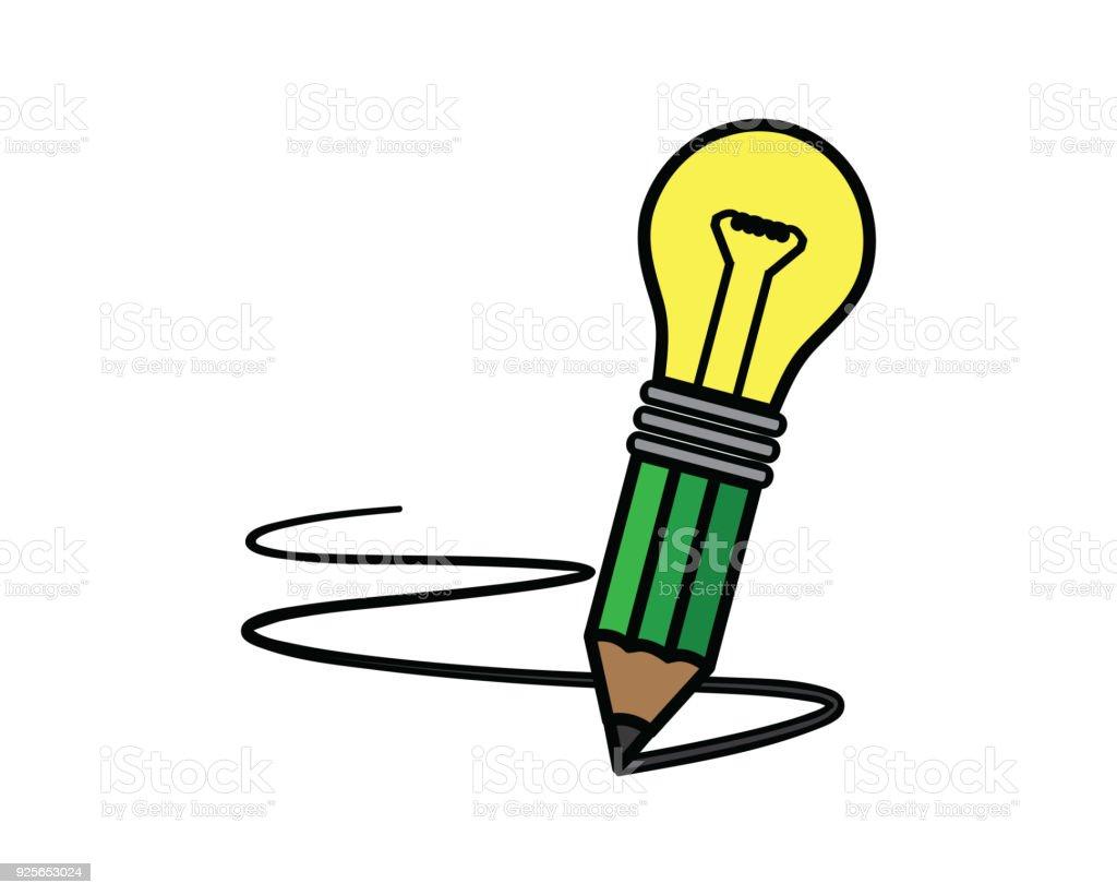 電球鉛筆イラスト カートン デザイン スタイル電球鉛筆 いたずら書きの