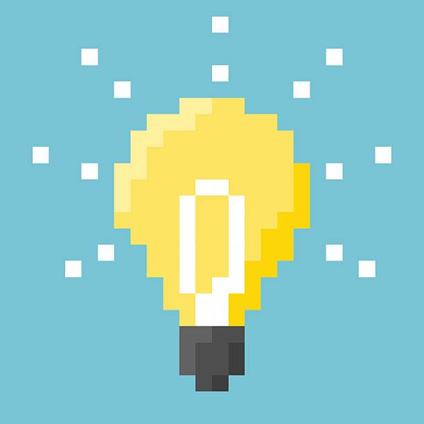 light bulb pixel concept - living organism stock illustrations