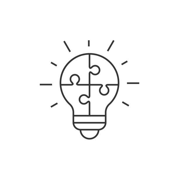 燈泡拼圖圖示向量藝術插圖
