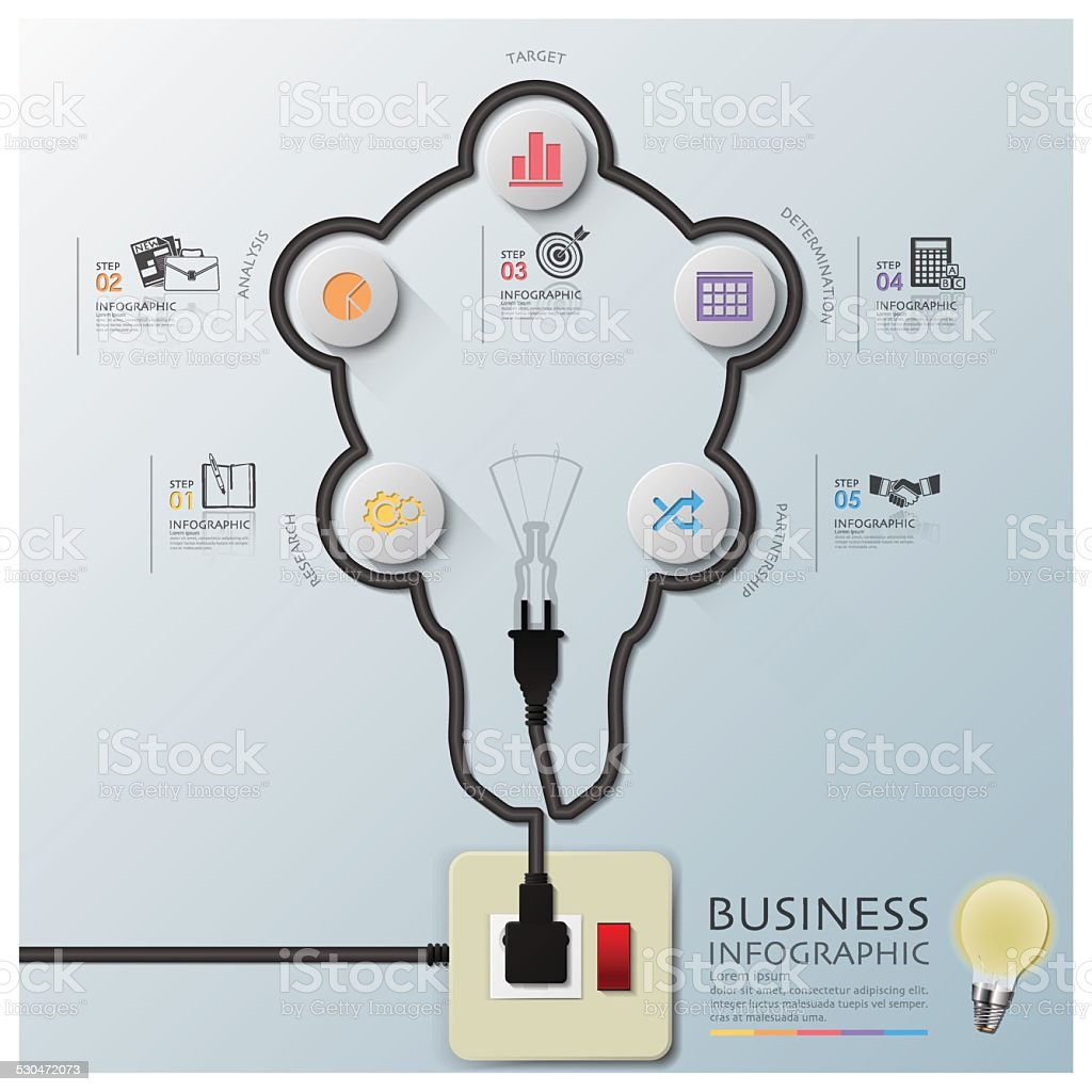 Light Bulb Shape Electric Wire Line Diagram Business Infographic Royalty Free