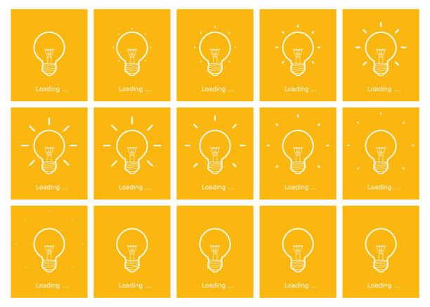 노란색 배경에 전구 빛나는 윤곽 선 애니메이션 스프라이트 시트 - gif stock illustrations