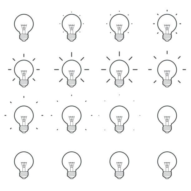 bildbanksillustrationer, clip art samt tecknat material och ikoner med glödlampa lysande kontur animation sprite sheet - changing bulb led