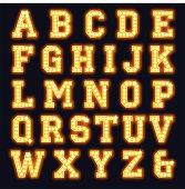 Light bulb alphabet font. Theatre show sign letters. Illustrator CS3 • Illustrator 10.0 eps • Large hires jpeg