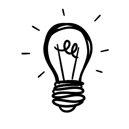 Light Bulb. Sketch of an electric device. Cartoon doodle lighting concept and ideas. Black and white illustration.