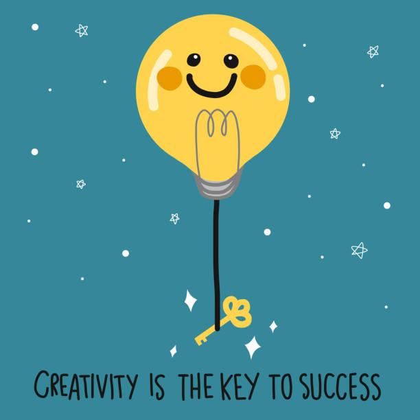 glühbirne lächeln gesicht ballon und schlüssel am dunkelblauen himmel vektor-illustration, business-konzept - schlüsselfertig stock-grafiken, -clipart, -cartoons und -symbole