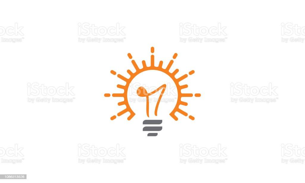 light bulb solar cell logo vector icon vector art illustration