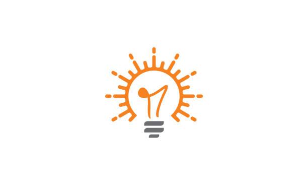 stockillustraties, clipart, cartoons en iconen met gloeilamp zonnecel logo vector pictogram - energy