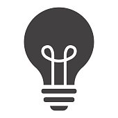 Light Bulb solid icon, lamp and idea, light vector graphics, a filled pattern on a white background, eps 10.