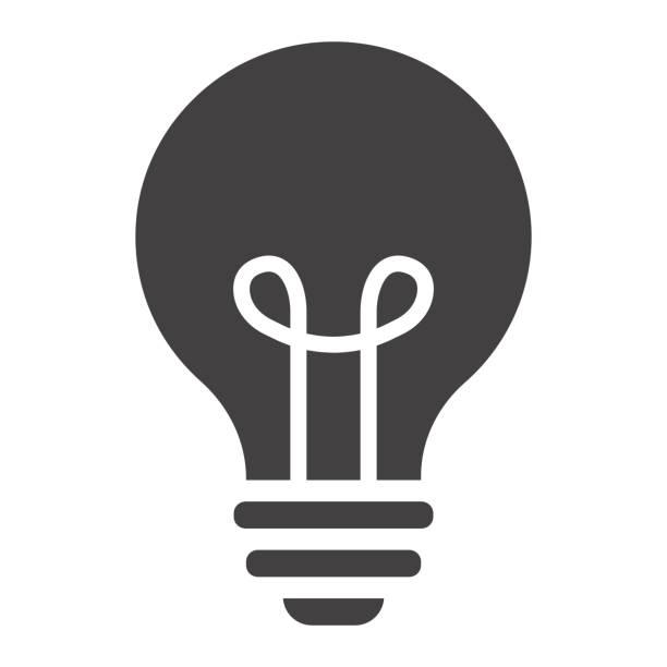 ilustraciones, imágenes clip art, dibujos animados e iconos de stock de sólido icono de bombilla, lámpara y idea, gráficos del vector de luz, un patrón de relleno sobre un fondo blanco, eps 10. - sólido