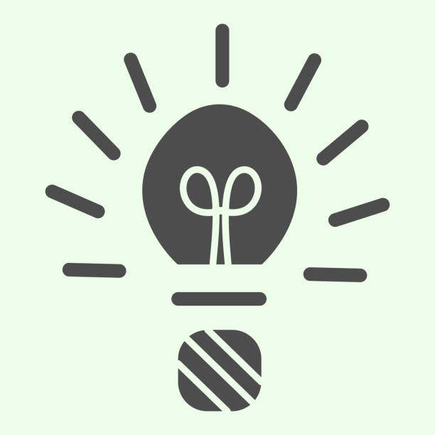 Light bulb solid icon. Studying and innovation lamp sign glyph style pictogram on white background. Creative idea with lightening symbol for mobile concept and web design. Vector graphics. Light bulb solid icon. Studying and innovation lamp sign glyph style pictogram on white background. Creative idea with lightening symbol for mobile concept and web design. Vector graphics energy efficient lightbulb stock illustrations