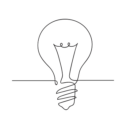 Light bulb symbol. Idea Concept. Continuous line art drawing. Hand drawn doodle vector illustration in a continuous line. Line art decorative design