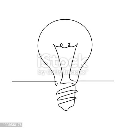 istock Light bulb symbol. Idea Concept. Continuous line art drawing. Hand drawn doodle vector illustration in a continuous line. Line art decorative design 1225630176