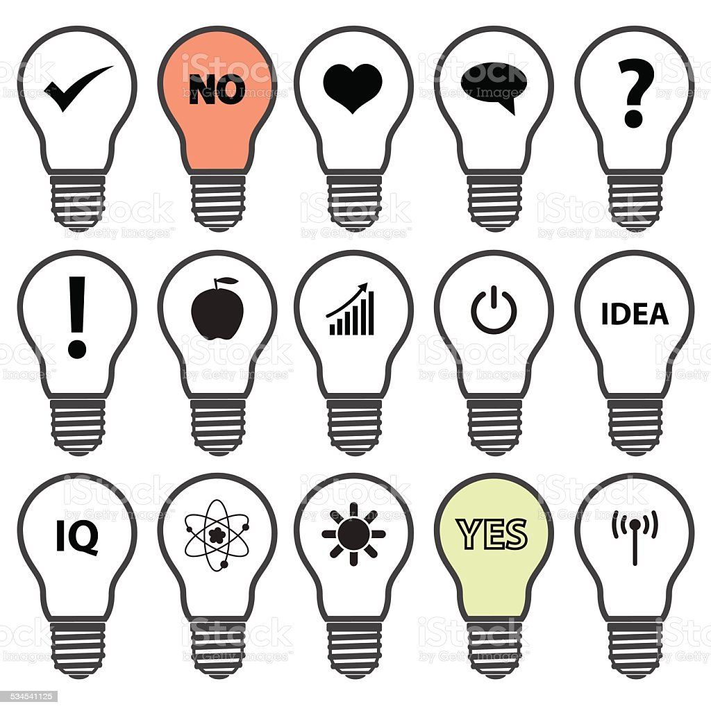 Light Bulb Symbols With Various Idea Icons Eps10 Stock Vector Art ...