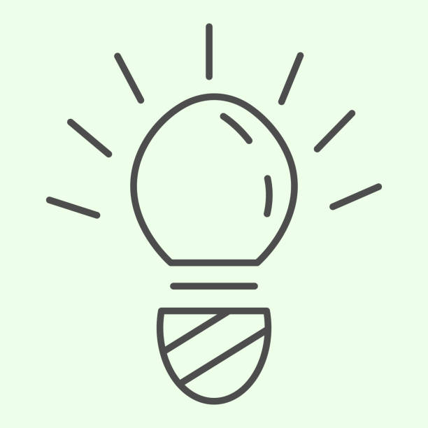 Light bulb thin line icon. Innovation or idea electric lamp with glowing outline style pictogram on white background. Research and technology signs for mobile concept and web design. Vector graphics. Light bulb thin line icon. Innovation or idea electric lamp with glowing outline style pictogram on white background. Research and technology signs for mobile concept and web design. Vector graphics energy efficient lightbulb stock illustrations