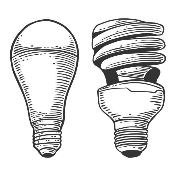 LED gloeilamp. Vector concept in Doodle en sketch stijl. Hand getekende illustratie voor het afdrukken op T-shirts, ansichtkaarten.vectorkunst illustratie