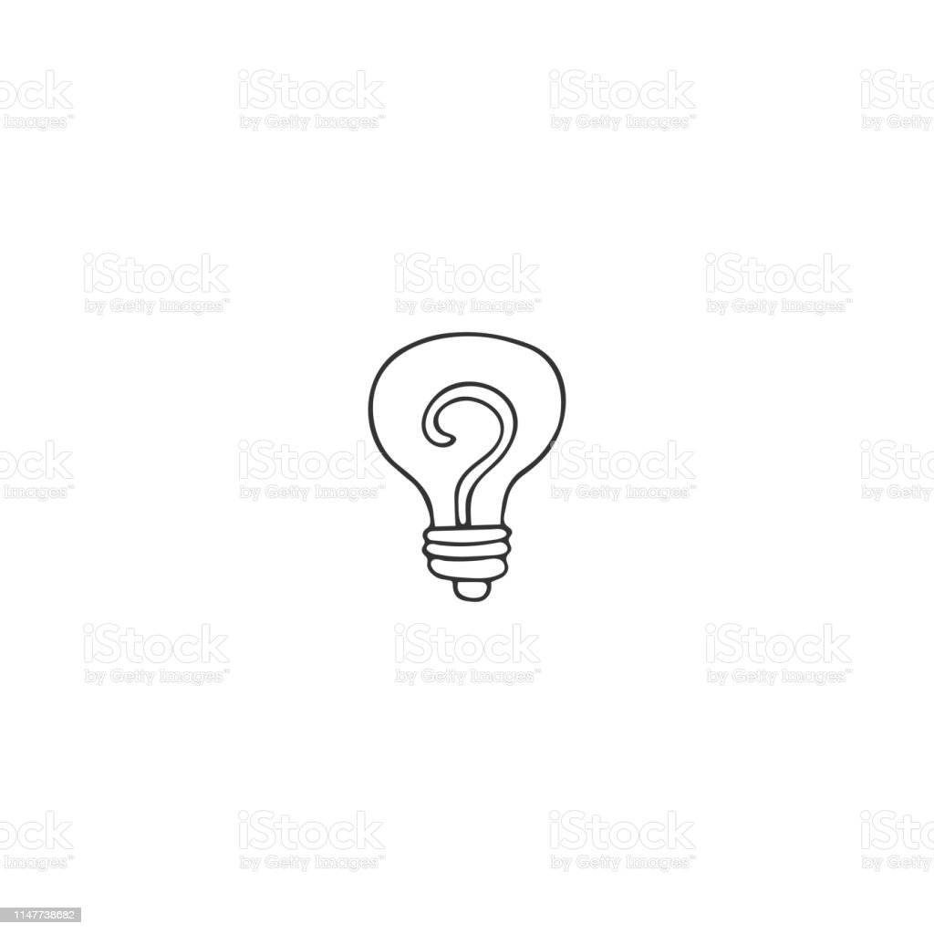Eine Glühbirne Vektorhandgezeichnete Ikone Ein Symbol Für
