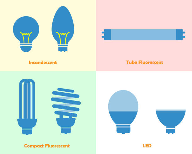 Light bulb vector icon incandescent fluorescent and led Flat icon various type of light bulb canadian football league stock illustrations
