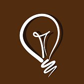 light bulb vector on brown background