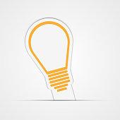 Light bulb vector sticker. Vector illustration.