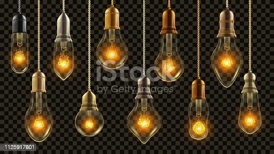Light Bulb Vintage Set Vector. Glowing Shine Lamp. Transparent 3D Realistic Electric Retro Loft Steampunk Style Hanging Decorative Lights Illustration
