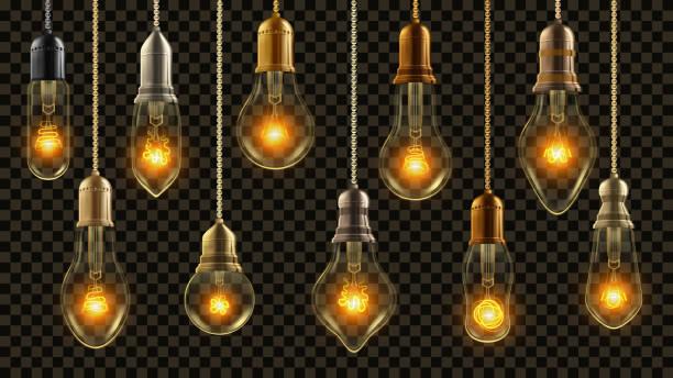 glühbirne vintage set vector. leuchtenden glanz lampe. transparente 3d realistisch elektro retro loft oder steampunk-stil hängen dekorative lichter illustration - steampunk stock-grafiken, -clipart, -cartoons und -symbole