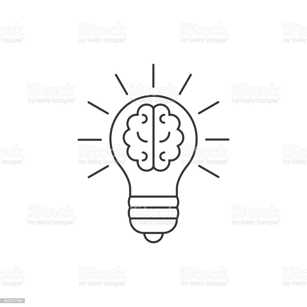 Light bulb with a brain inside line icon vector art illustration